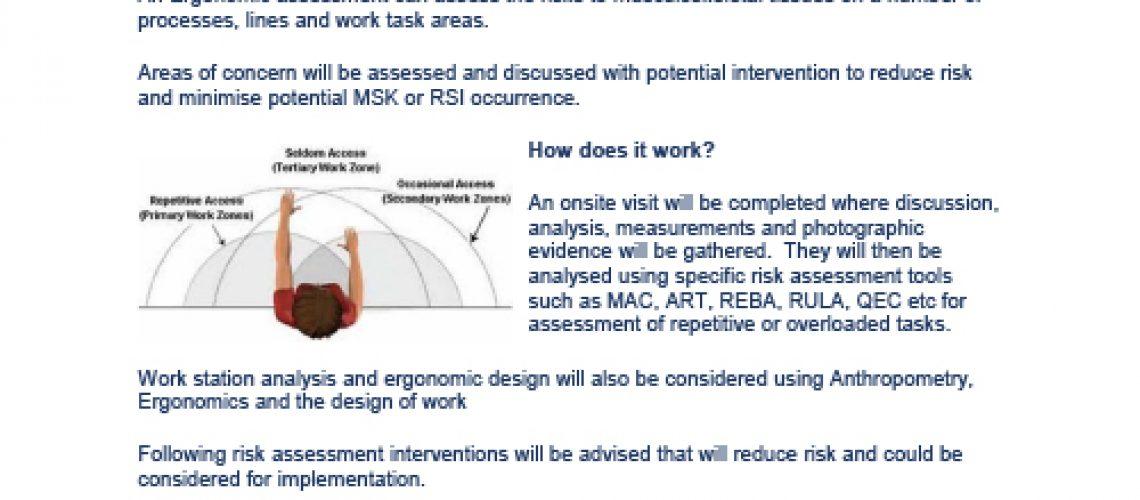 Onsite ergonomic assessment